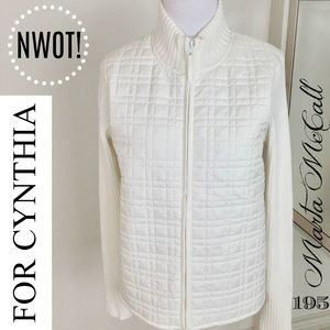 NWOT FOR CYNTHIA White Sweater Vest Jacket Sz PM